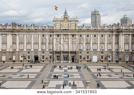 Madrid, Spain - October 19, 2019: The Royal Palace Of Madrid (palacio Real De Madrid), The Official