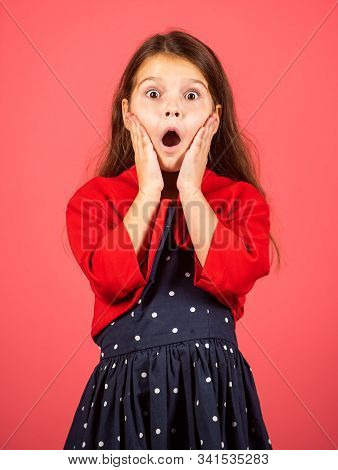 Make Wow Happen Now. Surprised Child. Little Girl Open Mouth With Surprise. Small Kid Look With Surp