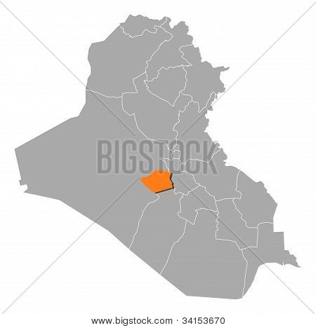 Map Of Iraq, Karbala Highlighted