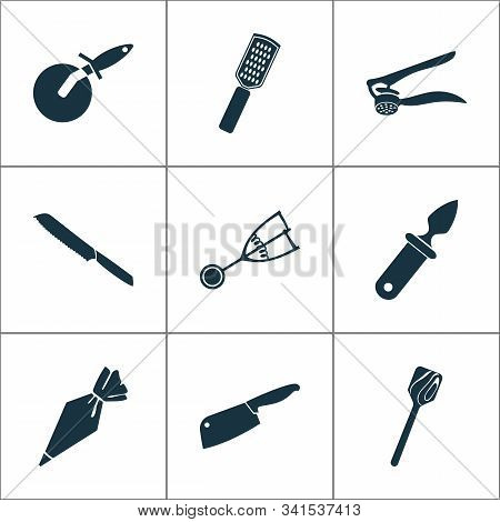 Kitchenware Icons Set With Oyster Knife, Kitchenware, Wooden Spatula And Other Grater Elements. Isol