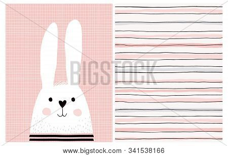 Cute Hand Drawn Baby Girl Vector Illustrations.white Fluffy Bunny Isolated On A Light Pink Backgroun