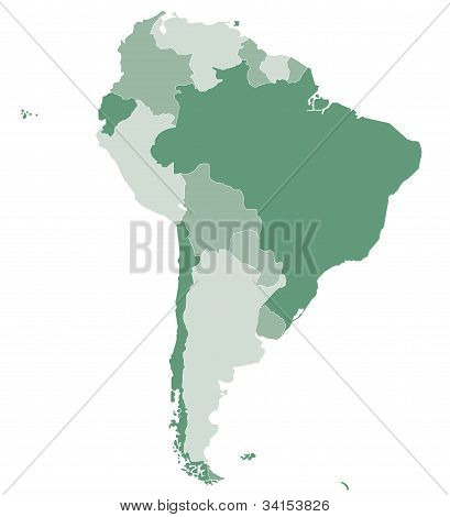 A vector map of South America as political poster