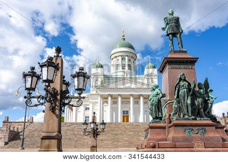 Helsinki Cathedral On Senate Square In Finland