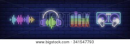 Sound Technology Neon Sign Set. Dj Mixer, Soundtrack, Headset. Vector Illustration In Neon Style, Br