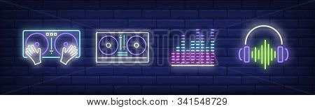 Dj Neon Sign Set. Mixer, Soundtrack, Headset, Soundwave. Vector Illustration In Neon Style, Bright B