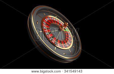 Luxury Casino Roulette Wheel Isolated On Black Background. Casino Background Theme. Close-up Black C