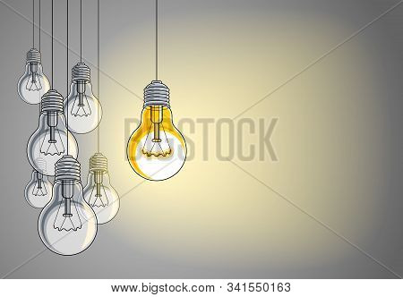 Light bulbs beautiful vector illustration with single one shining, idea concept, think different, st