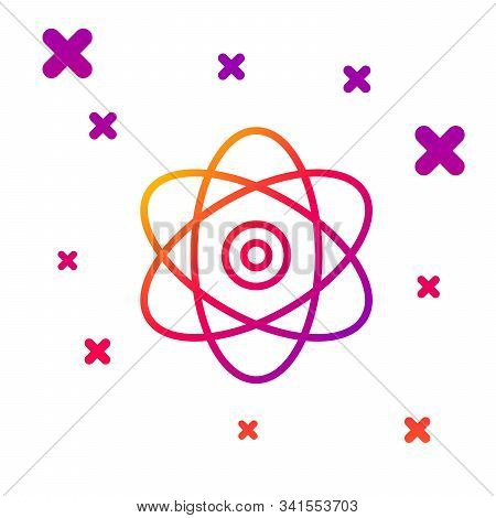 Color Line Atom Icon Isolated On White Background. Symbol Of Science, Education, Nuclear Physics, Sc