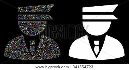 Glowing Mesh Police Officer Icon With Glow Effect. Abstract Illuminated Model Of Police Officer. Shi