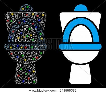 Glowing Mesh Toilet Pan Icon With Glitter Effect. Abstract Illuminated Model Of Toilet Pan. Shiny Wi