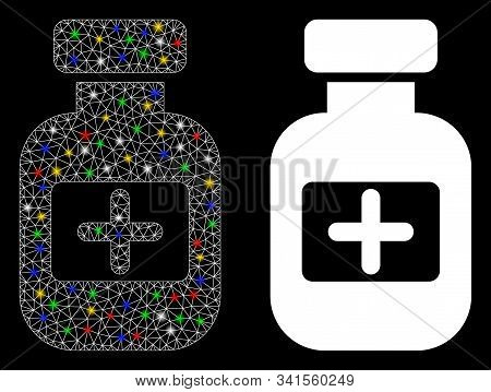 Flare Mesh Medication Phial Icon With Sparkle Effect. Abstract Illuminated Model Of Medication Phial
