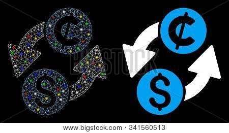 Glowing Mesh Dollar Cent Exchange Icon With Lightspot Effect. Abstract Illuminated Model Of Dollar C