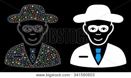 Flare Mesh Security Agent Icon With Sparkle Effect. Abstract Illuminated Model Of Security Agent. Sh