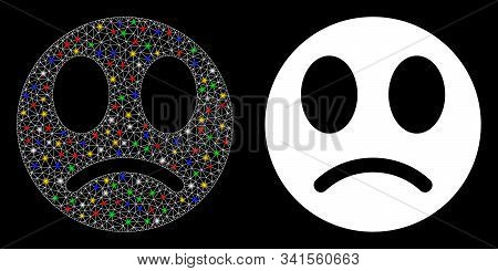 Flare Mesh Sad Smiley Icon With Glare Effect. Abstract Illuminated Model Of Sad Smiley. Shiny Wire F