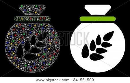 Glowing Mesh Grain Harvest Sack Icon With Glare Effect. Abstract Illuminated Model Of Grain Harvest