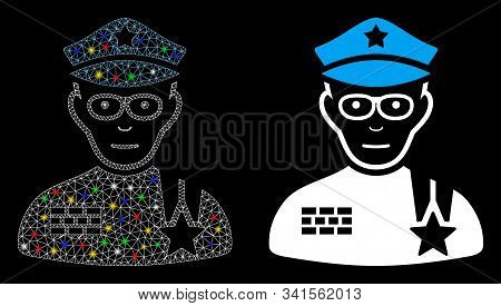 Glossy Mesh Army General Icon With Glare Effect. Abstract Illuminated Model Of Army General. Shiny W