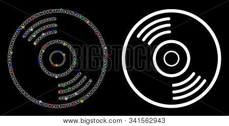 Glowing Mesh Music Disk Icon With Sparkle Effect. Abstract Illuminated Model Of Music Disk. Shiny Wi