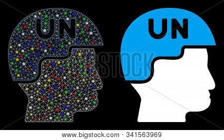 Bright Mesh United Nations Soldier Helmet Icon With Sparkle Effect. Abstract Illuminated Model Of Un