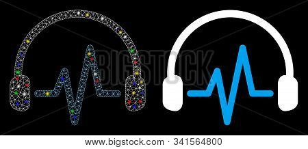 Glossy Mesh Listen Icon With Glow Effect. Abstract Illuminated Model Of Listen. Shiny Wire Frame Tri
