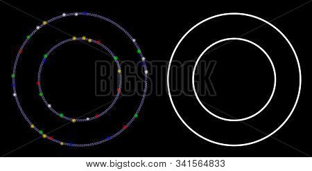 Glowing Mesh Double Round Frame Icon With Glow Effect. Abstract Illuminated Model Of Double Round Fr