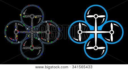 Glowing Mesh Quad Copter Icon With Lightspot Effect. Abstract Illuminated Model Of Quad Copter. Shin
