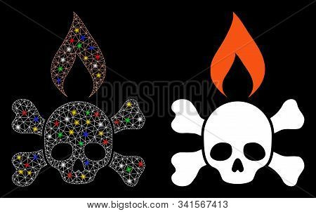 Flare Mesh Death Ignition Icon With Glitter Effect. Abstract Illuminated Model Of Death Ignition. Sh