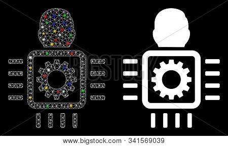 Glowing Mesh Cyborg Processor Icon With Sparkle Effect. Abstract Illuminated Model Of Cyborg Process