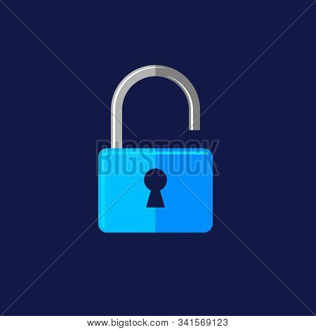 Locked Padlock Icon Isolated On Dark Background. Locked Padlock Icon In Trendy Design Style For Web