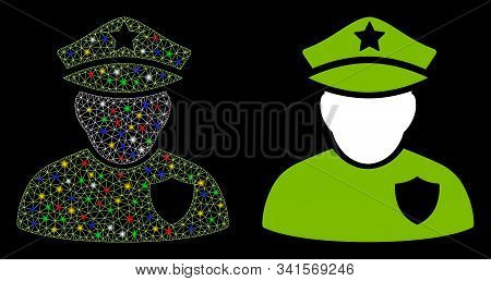 Glossy Mesh Police Officer Icon With Glare Effect. Abstract Illuminated Model Of Police Officer. Shi