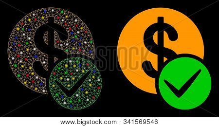 Glossy Mesh Valid Dollar Coin Icon With Lightspot Effect. Abstract Illuminated Model Of Valid Dollar