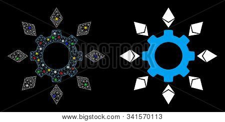 Glowing Mesh Ethereum Configuration Gear Icon With Lightspot Effect. Abstract Illuminated Model Of E
