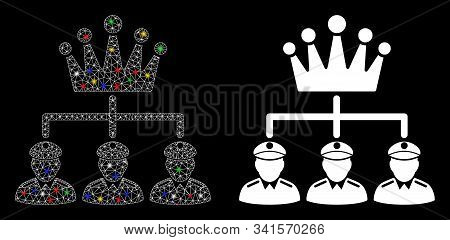 Glossy Mesh Monarchy Structure Icon With Glow Effect. Abstract Illuminated Model Of Monarchy Structu