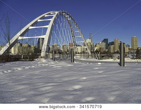The Walterdale Bridge With The View Of Downtown Edmonton, Alberta, Canada.