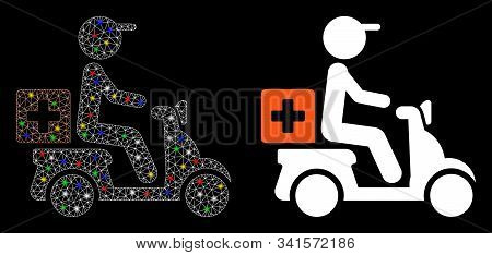 Glowing Mesh Drugs Motorbike Delivery Icon With Glare Effect. Abstract Illuminated Model Of Drugs Mo