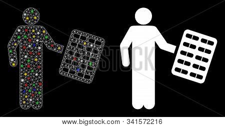 Glowing Mesh Chemist With Blister Icon With Sparkle Effect. Abstract Illuminated Model Of Chemist Wi