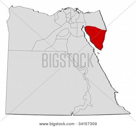 Karte von Ägypten, Süd-Sinai hervorgehoben