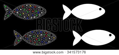 Flare Mesh Fish Pair Icon With Sparkle Effect. Abstract Illuminated Model Of Fish Pair. Shiny Wire F