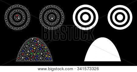 Glowing Mesh Horror Smiley Icon With Glare Effect. Abstract Illuminated Model Of Horror Smiley. Shin