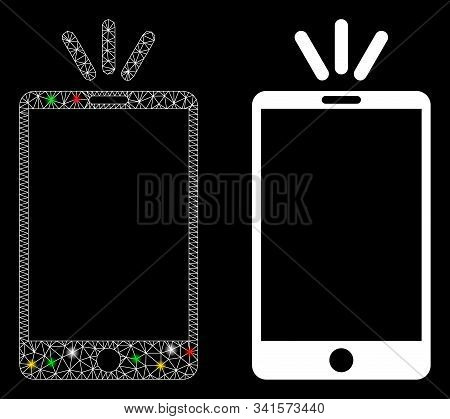 Glowing Mesh Mobile Torch Icon With Glare Effect. Abstract Illuminated Model Of Mobile Torch. Shiny