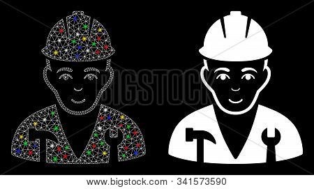 Glossy Mesh Serviceman Icon With Glow Effect. Abstract Illuminated Model Of Serviceman. Shiny Wire F