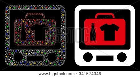 Glowing Mesh Baggage Xray Screening Icon With Lightspot Effect. Abstract Illuminated Model Of Baggag