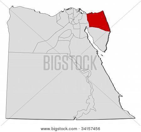 """Karte von Ã""""gypten, Nord-Sinai hervorgehoben"""
