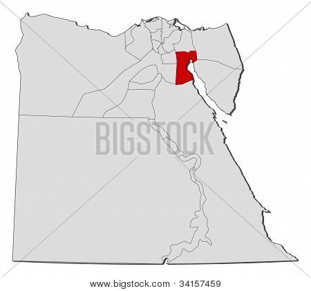 Map Of Egypt, Suez Highlighted