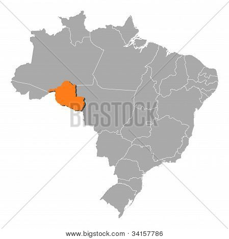 Map Of Brazil, Rondônia Highlighted