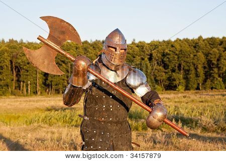Medieval knight in the field with an axe poster