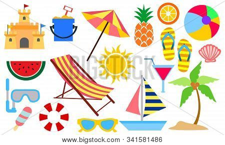 Set Of Summer And Vacation Elements Cute Cartoon Illustration