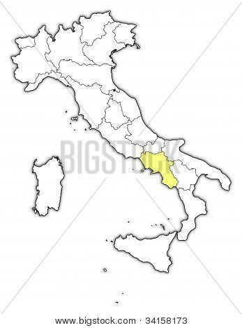 Map Of Italy, Campania Highlighted