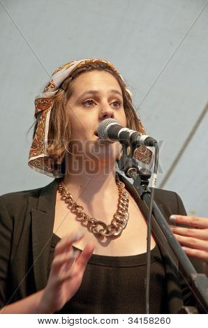 Singer from University of Exeter Soul Choir perform live on the Global Community Stage