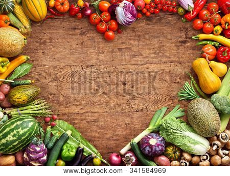 Vegetarian Food And Vegetable. Health Food For Healthy Eating For Vegans & Vegetarians With With Fre