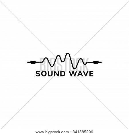 Audio Wave Logo Design Template, Cable Jack Logo Concept, Black And White, Audiophile Illustration,